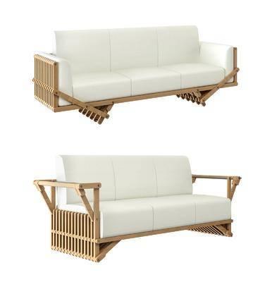 休闲沙发, 多人沙发, 木质沙发, 北欧