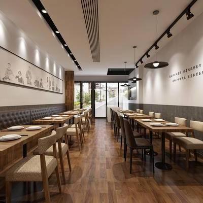 餐馆, 面馆, 餐桌, 门头, 现代小餐馆全景