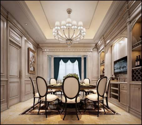 餐桌椅, 护墙板, 背景墙, 罗马柱, 吊灯, 酒柜, 饰品
