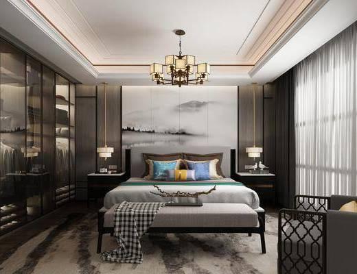 卧室, 双人床, 床尾凳, 床头柜, 台灯, 单人沙发, 吊灯, 衣柜, 服饰, 摆件组合, 新中式