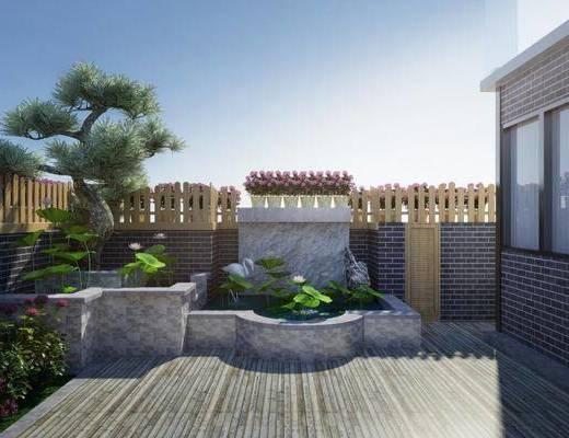 现代花园, 花园, 阳台, 景观
