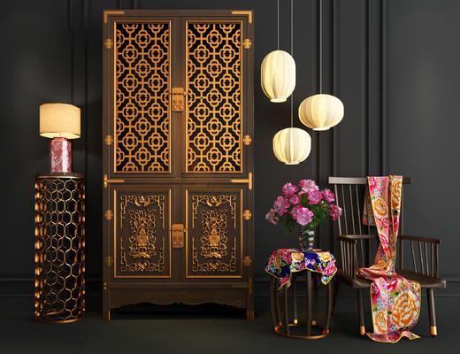 中式, 衣柜, 台灯, 灯具, 圈椅