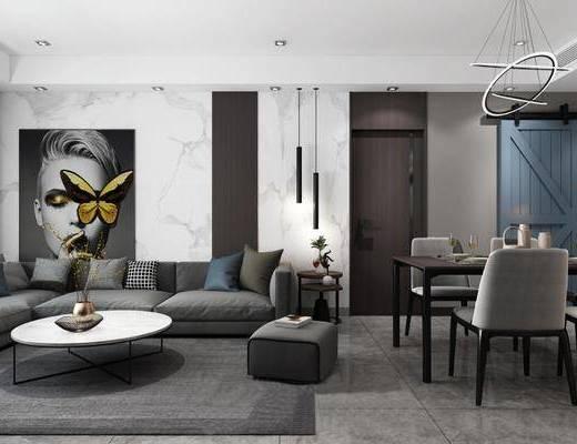 客厅, 餐厅, 多人沙发, 转角沙发, 茶几, 边几, 吊灯, 脚踏沙发, 餐桌, 餐椅, 单人椅, 餐具, 装饰画, 挂画, 人物画, 现代