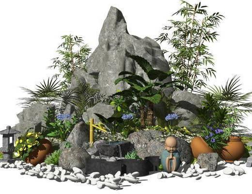新中式景观小品, 假山石头水景盆栽