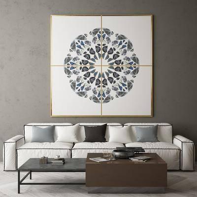 沙发组合, 茶几, 装饰画, 摆件组合