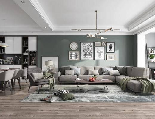 北欧, 客厅, 餐厅, 沙发组合, 桌椅组合