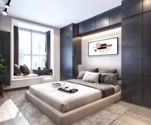 卧室, 双人床, 床头柜, 装饰画, 挂画, 盆栽, 绿植植物, 摆件, 装饰品, 现代