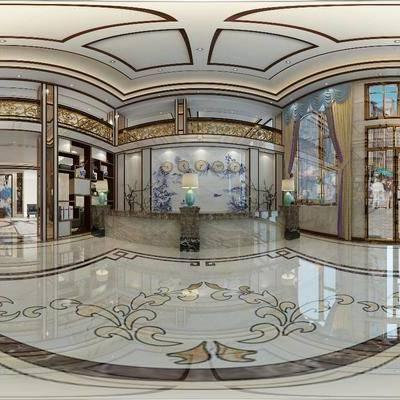酒店大堂, 接待处, 前台, 墙饰, 盆栽, 绿植, 台灯, 新中式