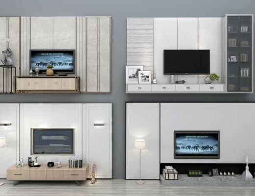 墙面, 电视墙, 现代电视墙, 现代, 电视柜, 案几, 端景台, 置物架, 摆件, 装饰品