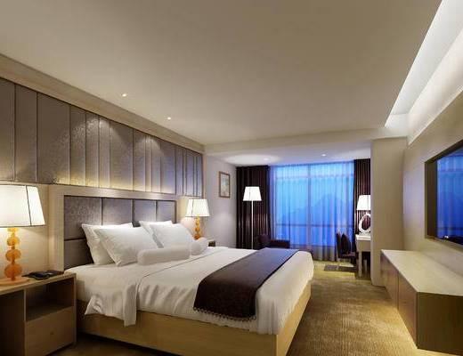 现代, 酒店, 客房, 房间, 床头柜, 台灯, 床, 电视柜, 落地灯