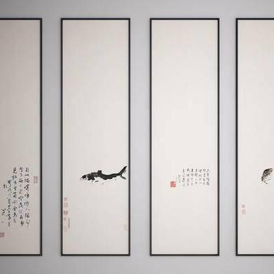 中式装饰挂画, 中式水墨画, 中式艺术画