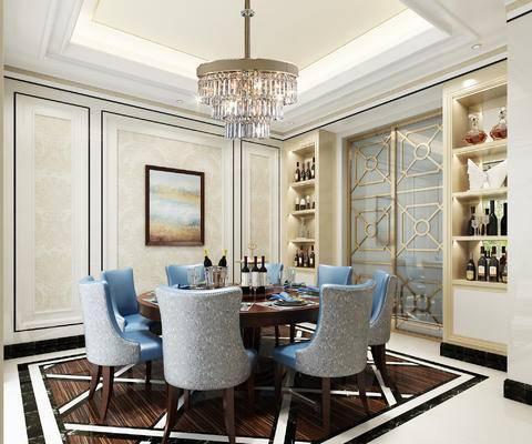 餐桌, 桌椅组合, 吊灯, 酒柜, 装饰画