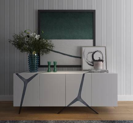 现代边柜, 边柜, 摆件, 盆栽, 挂画, 现代