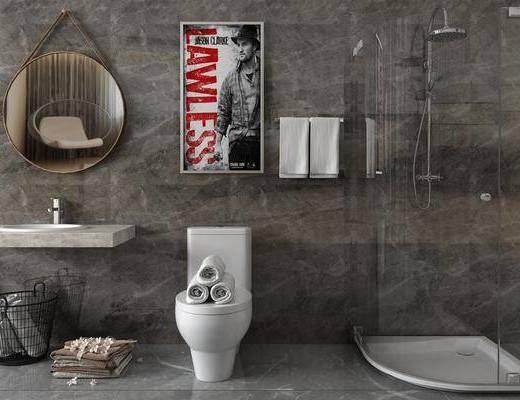 洗手台组合, 洗手盆, 马桶淋浴, 现代