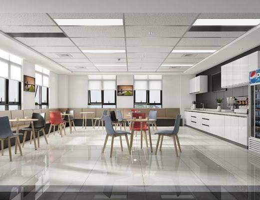 办公室, 茶水间, 桌椅, 椅子, 桌子, 休息区