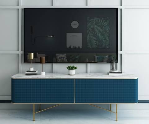 法式电视柜, 边柜, 装饰柜, 盆栽, 摆件