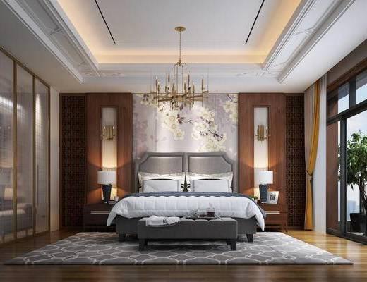 新中式, 卧室, 衣帽间, 灯具, 双人床