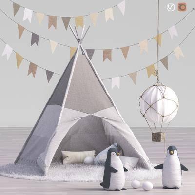 毛绒玩具, 玩偶, 布娃娃, 彩旗, 气球, 企鹅