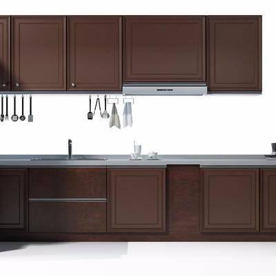 橱柜, 置物柜, 洗手台, 厨具, 吸油烟机, 现代