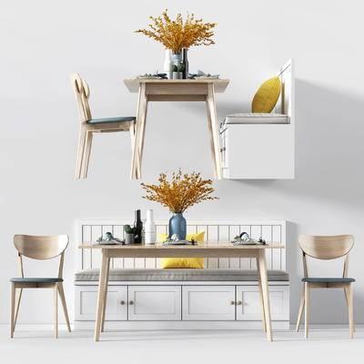 北欧餐桌椅组合, 北欧摆件, 卡座沙发组合