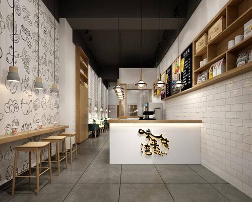 奶茶店, 前台接待, 装饰柜, 吊灯组合, 摆件组合, 北欧