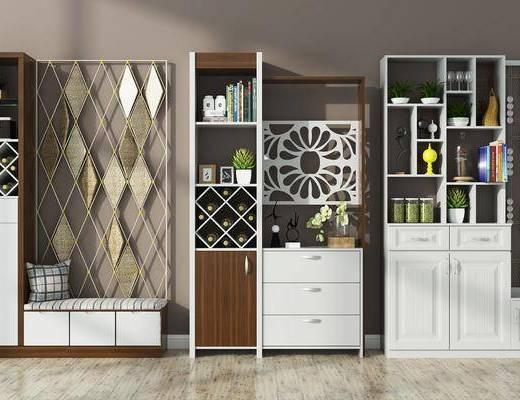 鞋柜, 现代鞋柜组合, 摆件, 装饰品, 植物, 盆栽, 置物柜, 现代
