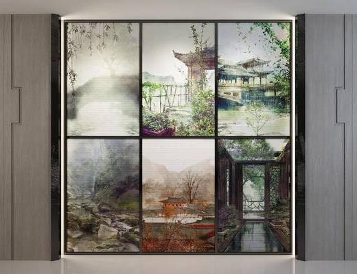 新中式, 装饰画, 挂画, 油画, 山水画, 风景画