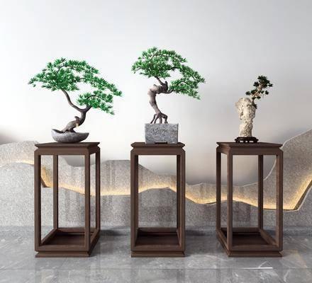 新中式, 盆栽, 摆件