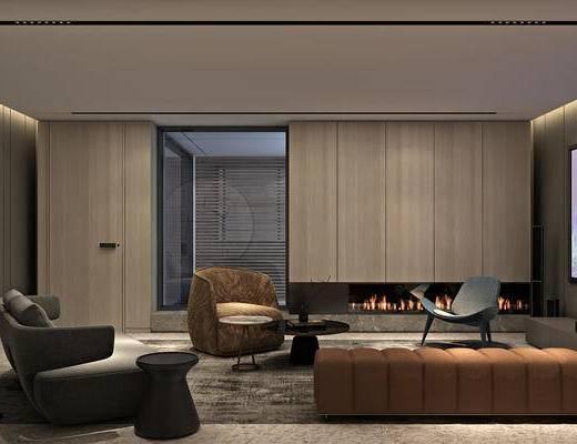 壁炉, 屏幕, 沙发, 边几