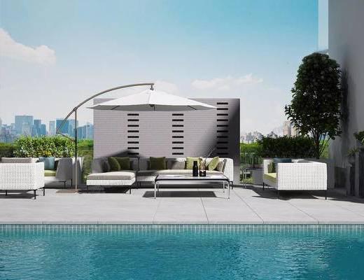 沙发组合, 茶几, 户外, 游泳池, 抱枕
