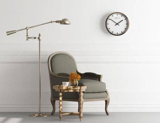 落地灯, 单椅组合, 墙饰, 北欧