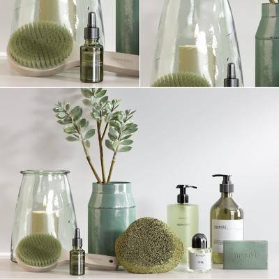 洗涤用品, 北欧浴室洗涤用品3d模型, 沐浴露, 洗头水