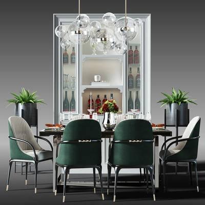餐桌, 酒柜, 酒架, 吊灯, 桌椅, 桌椅组合, 餐桌椅组合, 盆景, 植物, 现代, 北欧