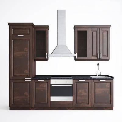 现代橱柜组合, 现代, 橱柜, 抽油烟机, 洗手盆, 消毒柜