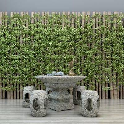 石桌, 石椅, 石凳, 桌椅, 墙饰, 植物, 茶具, 竹子, 新中式