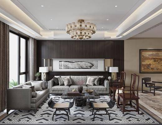 客厅, 多人沙发, 茶几, 单人椅, 边几, 台灯, 凳子, 吊灯, 双人床, 餐桌, 餐椅, 摆件, 装饰品, 陈设品, 新中式