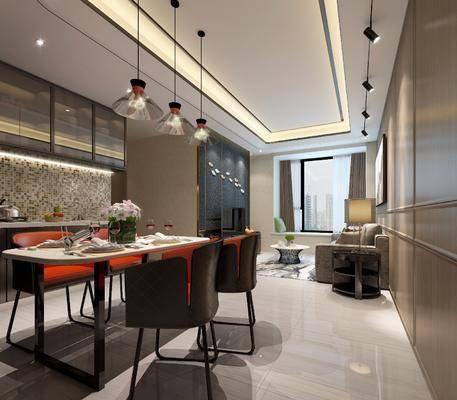 后现代客餐厅厨房组合, 后现代, 餐厅, 现代吊灯, 沙发, 导轨灯