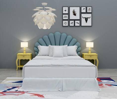 双人床, 床头柜, 台灯, 吊灯, 照片墙, 装饰画, 挂画, 现代简约