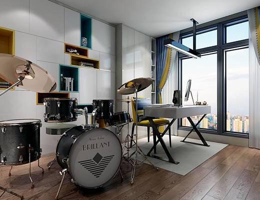 现代简约书房, 书桌, 书柜, 乐器, 架子鼓, 木地板, 窗帘, 造型灯
