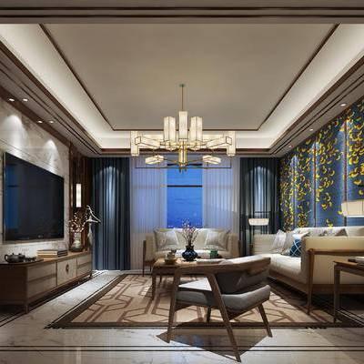 中式客厅, 中式, 中式吊灯, 中式电视柜, 中式壁灯, 中式台灯, 沙发组合
