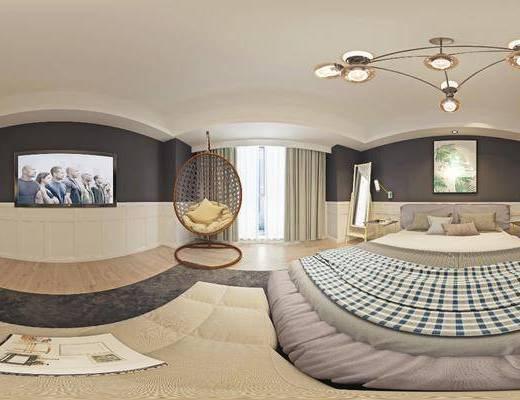 客房, 卧室, 民宿卧室, 北欧民宿卧室3d模型, 床具组合, 全景图, 摆件组合