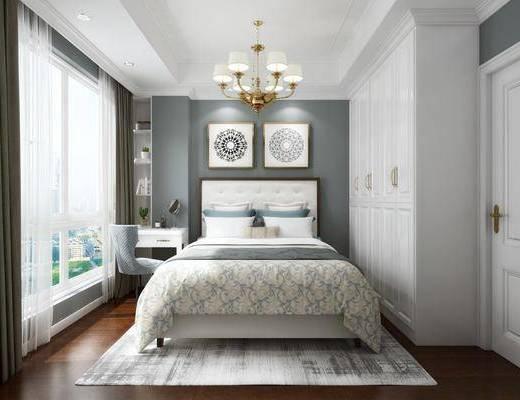 卧室, 双人床, 装饰画, 挂画, 吊灯, 衣柜, 装饰柜, 现代
