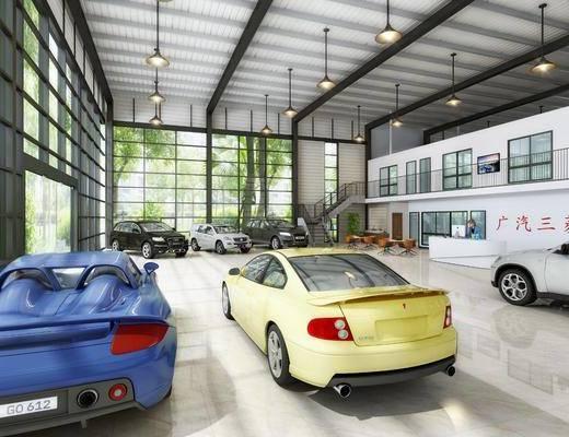 工业风4S专卖店大, 车, 前台, 绿植, 吊灯, 工业风