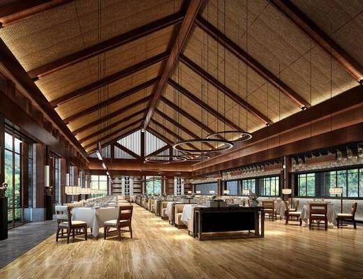 新中式餐厅, 餐桌, 单椅, 吊灯, 台灯, 摆件, 新中式