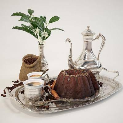 现代, 欧式, 蛋糕, 咖啡, 端盘, 餐具, 花卉, 植物, 食物组合, 欧式蛋糕, 欧式咖啡, 欧式餐具, 食物