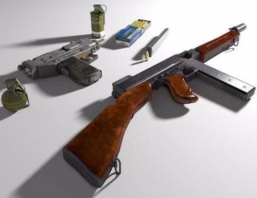 武器, 汤姆逊, Uzi, 子弹, 烟雾弹, 手雷