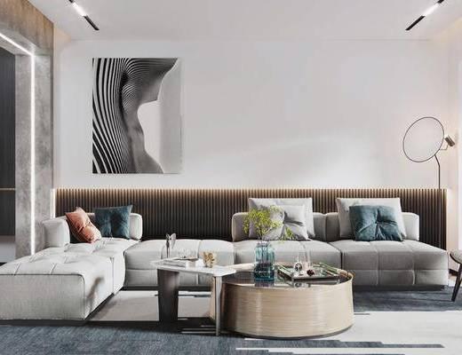 沙发组合, 茶几, 装饰画, 摆件组合, 抱枕