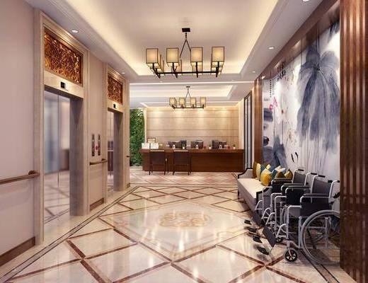中式前台电梯间, 电梯间, 轮椅, 前台, 吊灯, 单椅, 中式