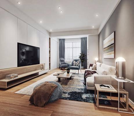 现代客厅, 现代餐厅, 现代卫浴, 沙发茶几组合, 装饰画, 边几, 台灯, 电视柜, 餐桌, 椅子, 洗手台