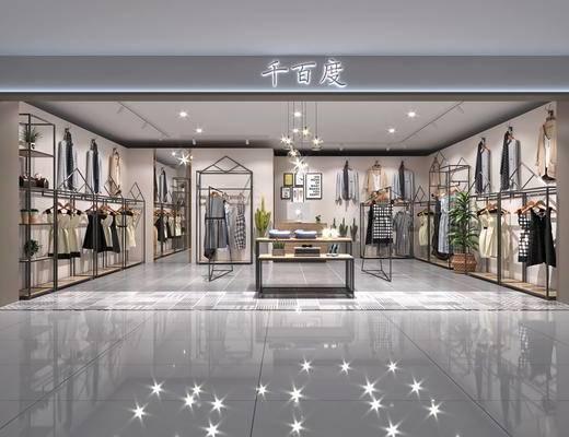 服装店, 服饰, 装饰架, 现代